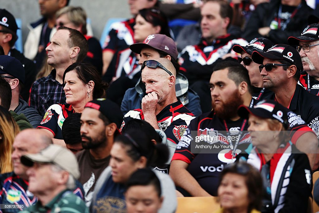 Warriors fans look on from the stands during the round nine NRL match between the New Zealand Warriors and the St George Illawarra Dragons at Mt Smart Stadium on May 1, 2016 in Auckland, New Zealand.