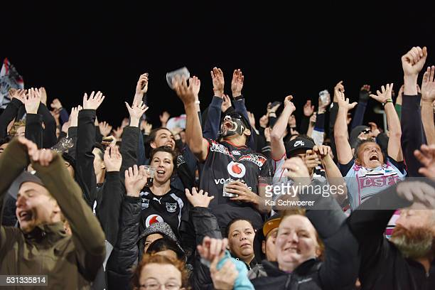 Warriors fans show their support during the round 10 NRL match between the Penrith Panthers and the New Zealand Warriors at AMI Stadium on May 14...