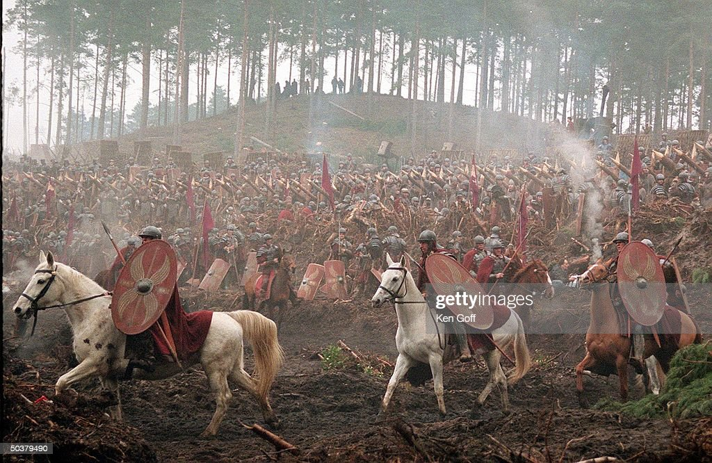 Warriors on horses in movie Gladiator being filmed at Bourne Wood