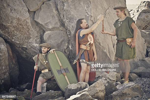 Warriors with a spear shield and sword Illyrian civilisation mid3rd century BC Historical reenactment