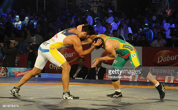 Warriors wrestler Ganzorig Mandakhnran in action against Amit Dhankar of Revanta Mumbai Garuda during the Pro Wrestling League match on December 17...