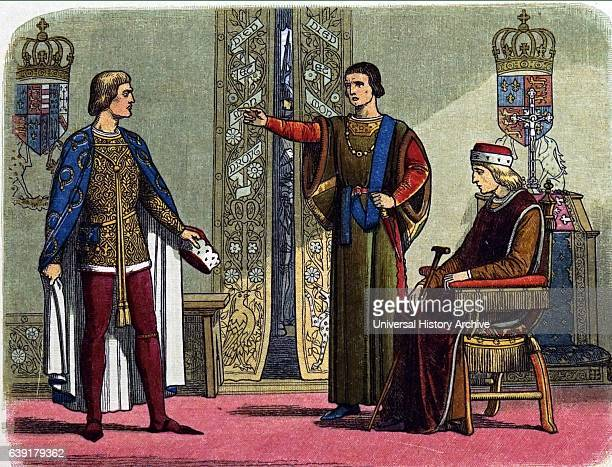Wars of the Roses 14551485 Duke of York Richard III and the Duke of Somerset arguing in front of the weak inadequate Henry IV