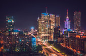 Warsaw downtown panorama at night, Poland. Polish capital