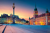 Image of Old Town Warsaw, Poland during sunset.