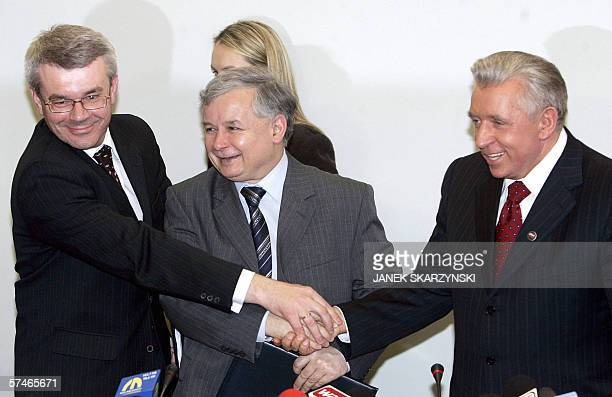 Boguslaw Kowalski member of the League of Polish Families Jaroslaw Kaczynski head of the ruling conservative Law and Justice party and Samoobrona...
