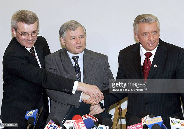 Boguslaw Kowalski member of the League of Polish Families party Jaroslaw Kaczynski head of the ruling conservative Law and Justice party and...