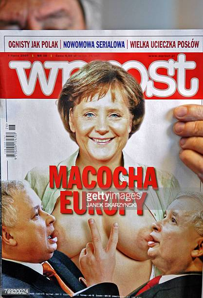 TO GO WITH AFP STORY BY GUY JACKSON 'German anger at 'barebreasted' Merkel image in Poland' A man is reads Polish weekly 'Wprost' 27 June 2007 as its...