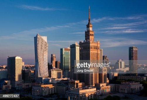 Warsaw skyline at sunrise