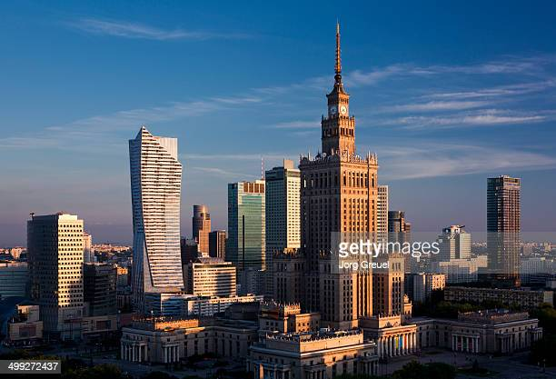 Warsaw skyline at sunrise