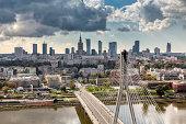 Warsaw skyline behind the bridge, Poland