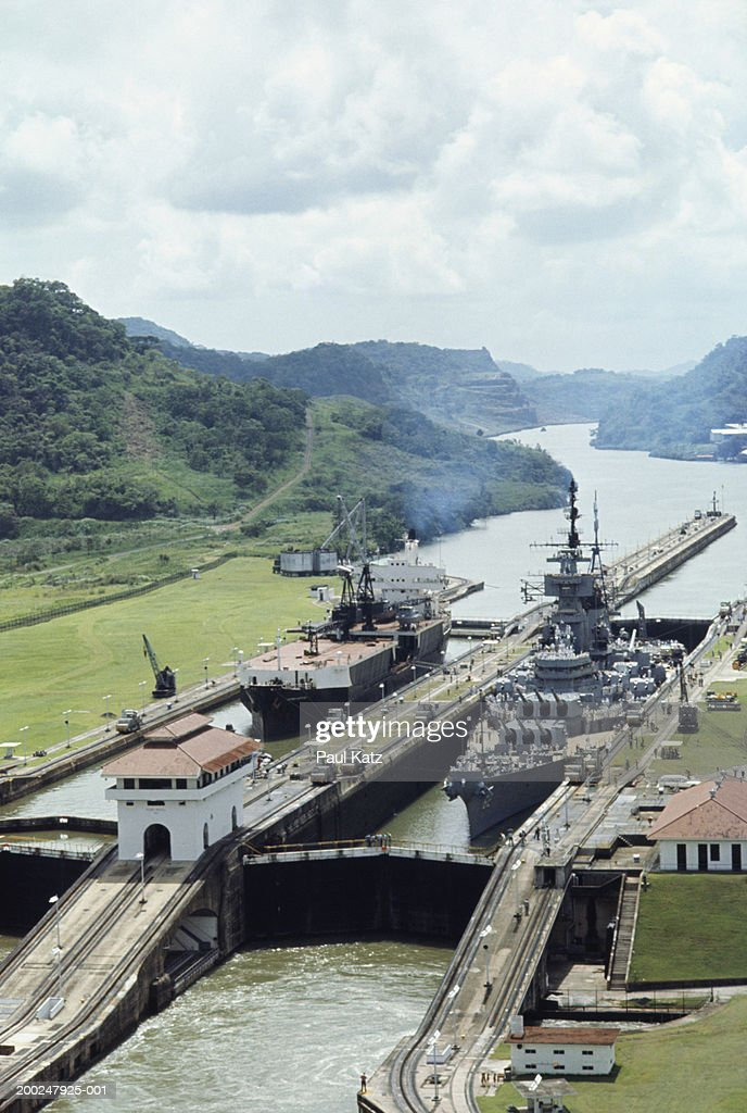 Warship and tanker in lock at Panama Canal