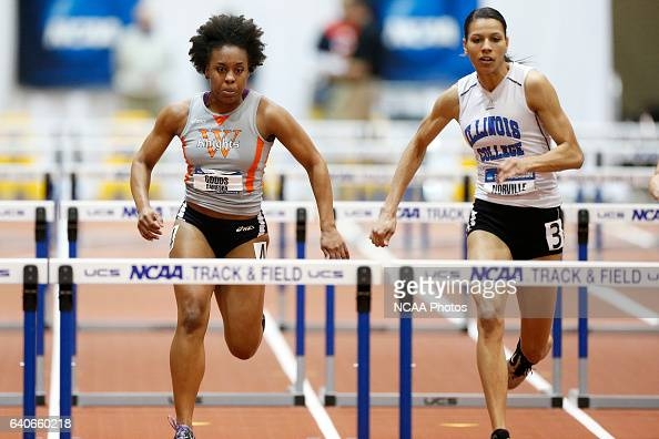 Wartburg's Camesha Goods and Illinois College's Melissa Norville battle in the women's 60m Hurdles at the Division III Men's and Women's Indoor Track...