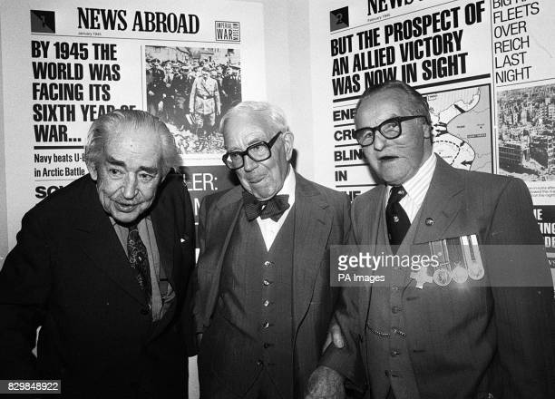 Wartime broadcaster John Snagge war correspondent Alan Taylor and Albert 'Ted' Heming GC at the Imperial War Museum London wherer the museum marks...