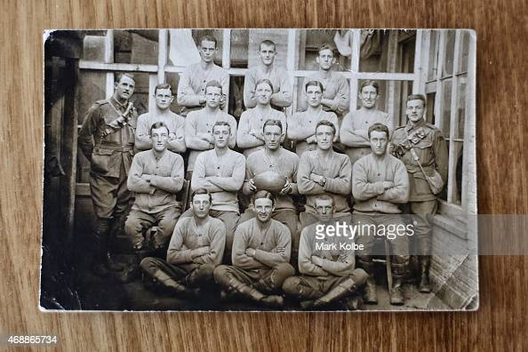 A wartime football team photo in which ANZAC veteran James Jim Hoskins Clennett who served in the Australian armed forces at Gallipoli in 1915 is...
