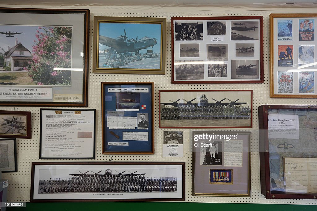 Wartime memorabilia in the cafe of the Lincolnshire Aviation Heritage Centre adjacent to the hangar of the Lancaster bomber 'Just Jane', which is being restored with the aim of getting it airworthy, on February 14, 2013 in East Kirkby, England. The plane, which last flew in 1971, would become one of only three airworthy Lancaster bombers in the world. Brothers Fred and Harold Panton, owners of the Lincolnshire Aviation Heritage Centre, are restoring the plane in memory of their sibling, Christopher Panton, who died aged 19 when his Lancaster was shot down in 1944.