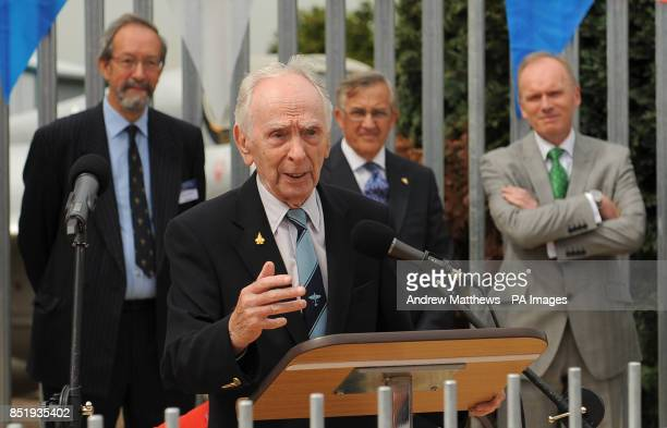 Wartime testpilot Captain Eric 'Winkle' Brown makes a speech in front of the Samuel Cody statue which is being unveiled at the Farnborough Air...
