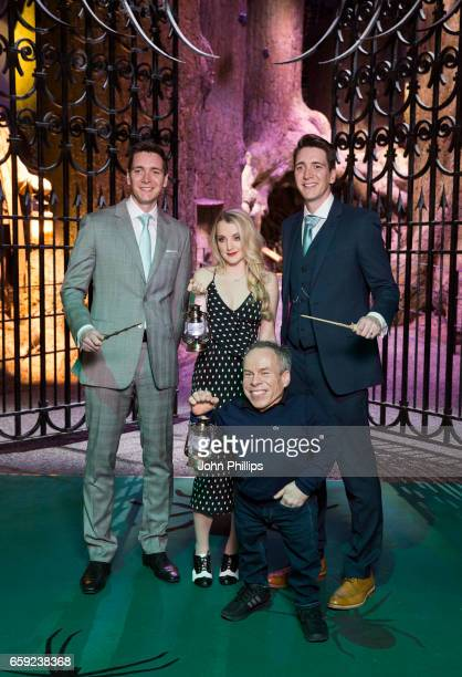 Warwick Davis Evanna Lynch Oliver Phelps and James Phelps attend the Warner Bros Studio Tour on March 28 2017 in Watford United Kingdom