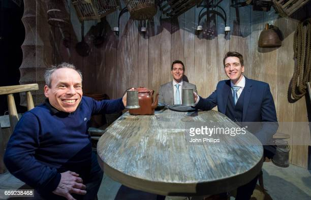 Warwick Davis Oliver Phelps and James Phelps attend the Warner Bros Studio Tour on March 28 2017 in Watford United Kingdom