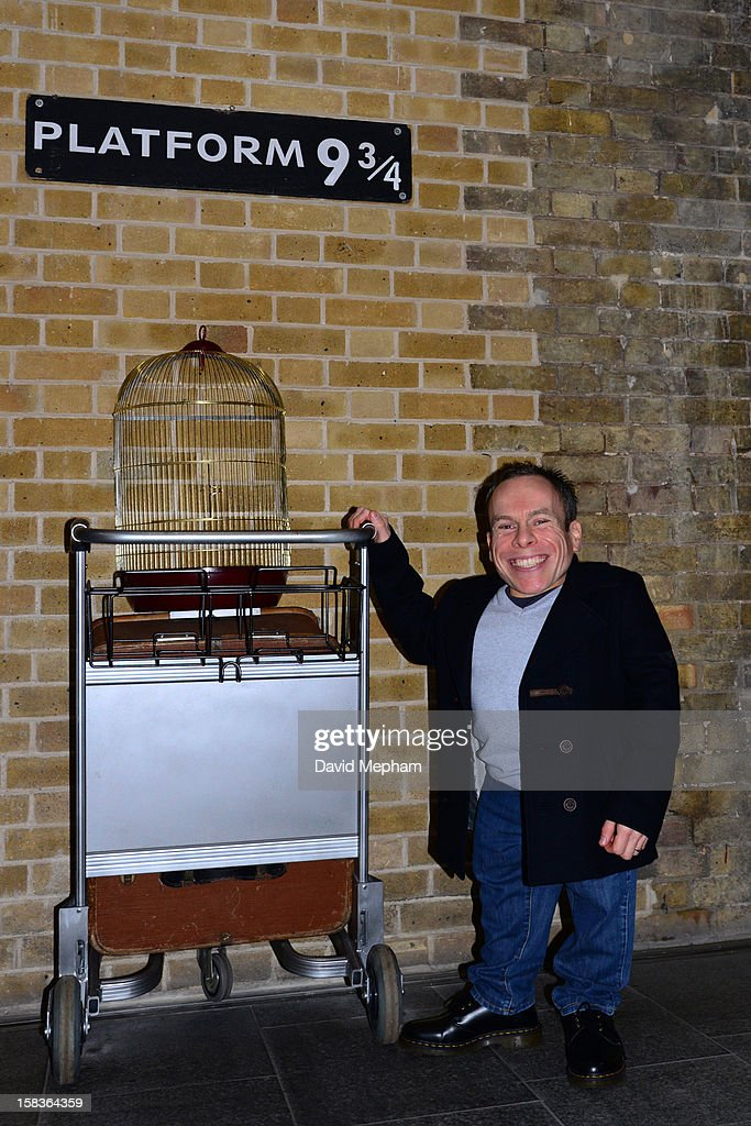 Warwick Davis opens the new Harry Potter shop at Platform 9 3/4, Kings Cross rail station on December 14, 2012 in London, England.