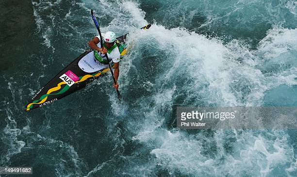 Warwick Draper of Australia competes during the Men's Kayak Canoe Slalom heats on Day 2 of the London 2012 Olympic Games at Lee Valley White Water...
