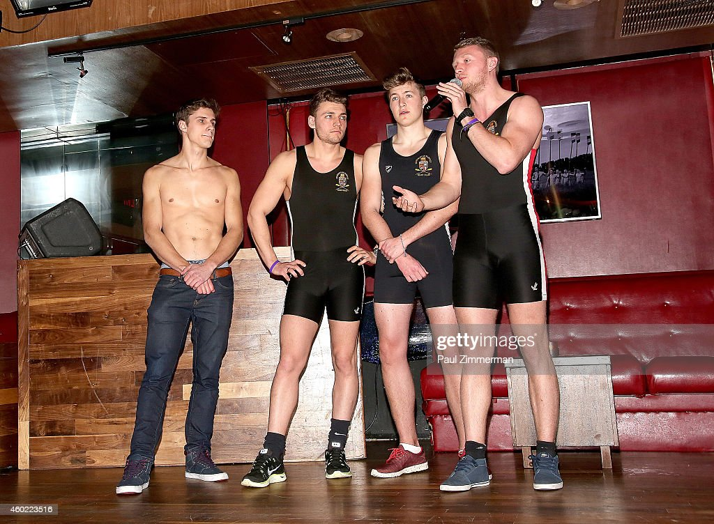 Warwick Rowers Matthew Dabell, Oliver Greene, Laurence Hulse and Thomas Robinson attend The Warwick Rowers 2015 Movie Premiere and Calendar Launch Event at 42West and The Out NYC on December 9, 2014 in New York City.