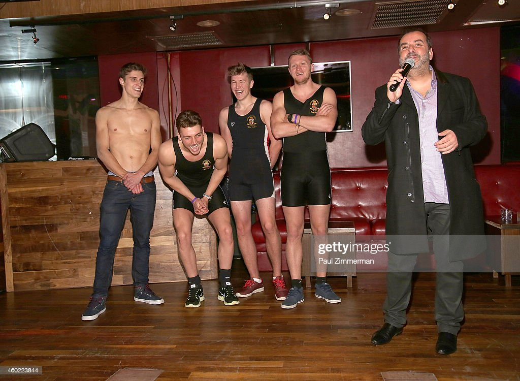 Warwick Rowers Matthew Dabell, Oliver Greene, Laurence Hulse ,Thomas Robinson and producer/photographer Angus Malcolm attend The Warwick Rowers 2015 Movie Premiere and Calendar Launch Event at 42West and The Out NYC on December 9, 2014 in New York City.