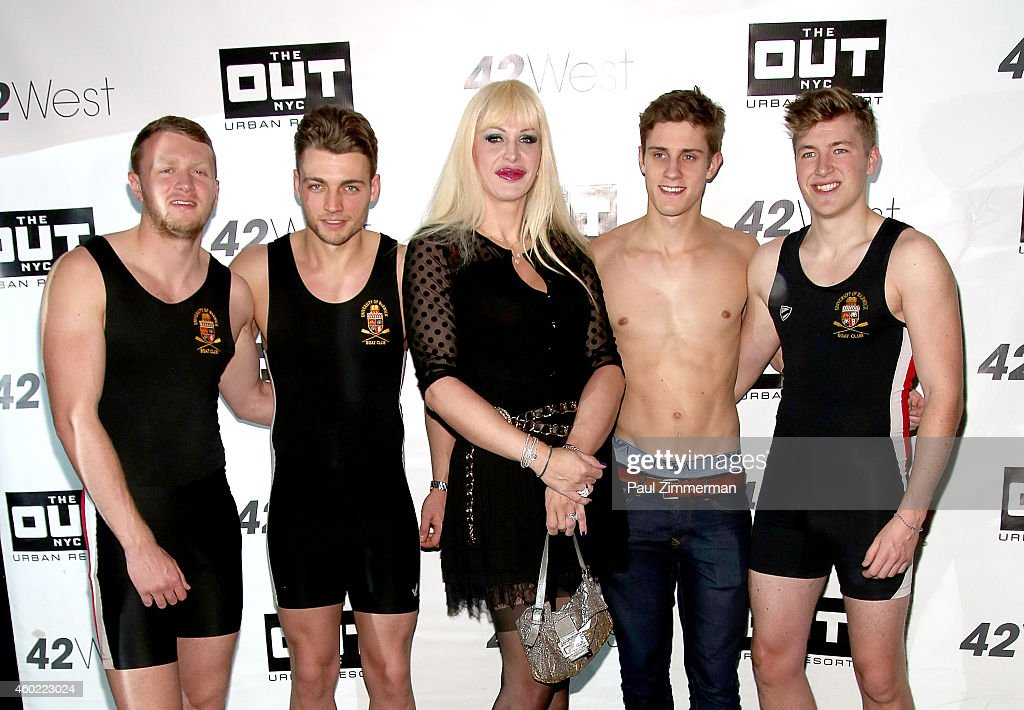 Warwick Rowers Oliver Greene, actress Marie D'estrees Laurence Hulse, Matthew Dabell and Thomas Robinson attend The Warwick Rowers 2015 Movie Premiere and Calendar Launch Event at 42West and The Out NYC on December 9, 2014 in New York City.