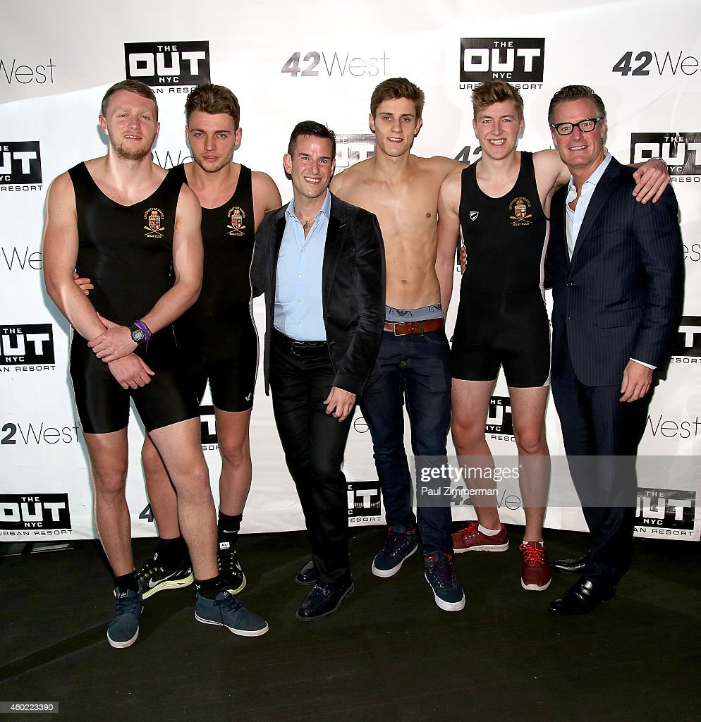 Warwick Rowers Oliver Greene, Ian Reisner, Laurence Hulse, Matthew Dabell, Thomas Robinson and Doug Wurth attend The Warwick Rowers 2015 Movie Premiere and Calendar Launch Event at 42West and The Out NYC on December 9, 2014 in New York City.
