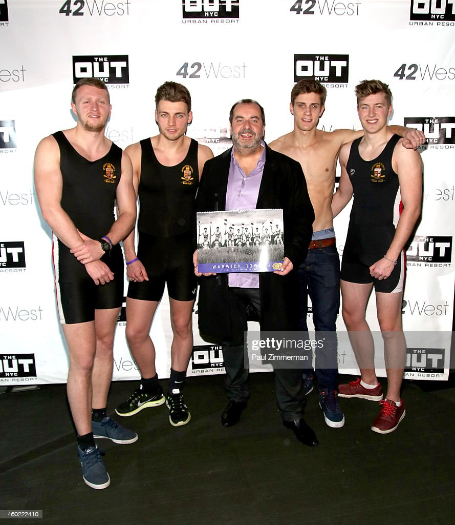 Warwick Rowers Oliver Greene, Laurence Hulse, Matthew Dabell, producer/photographer Angus Malcolm and Thomas Robinson attend The Warwick Rowers 2015 Movie Premiere and Calendar Launch Event at 42West and The Out NYC on December 9, 2014 in New York City.