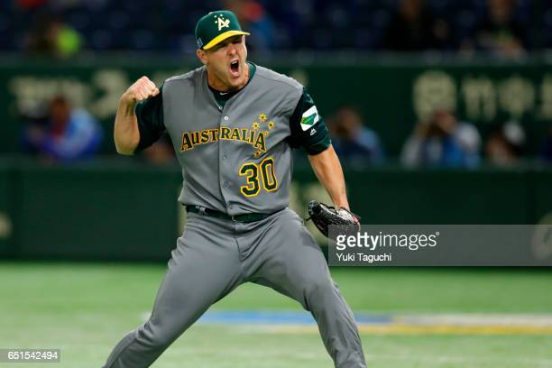 Warwick Saupold of Team Australia reacts after an inning ending double play in the fifth inning during Game 5 of Pool B of the 2017 World Baseball...