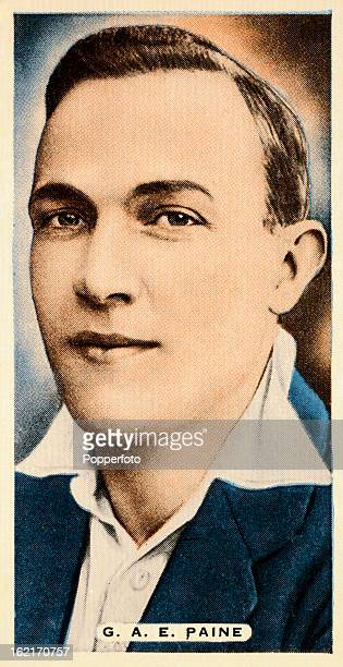 Warwickshire and England cricketer George Paine featured on a vintage cigarette card published circa 1935