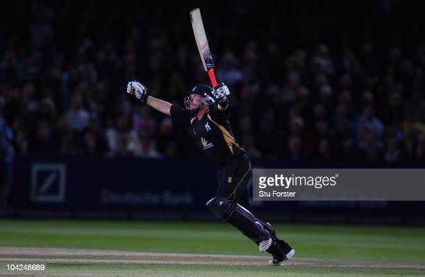 Warwickshire batsman Ian Bell celebrates reaching his century during the Clydesdale Bank 40 Final between Somerset and Warwickshire at Lord's Cricket...