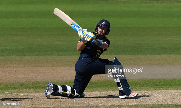 Warwickshire batsman Ian Bell reverse sweeps the ball towards the boundary during the Royal London OneDay Cup semi final between Warwickshire and...