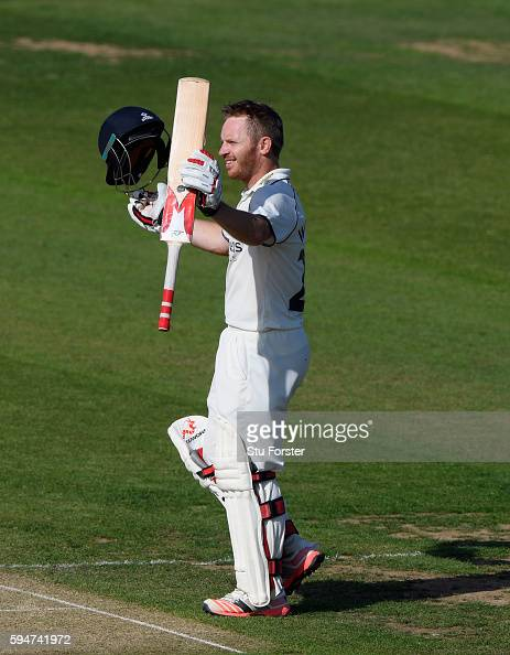 Warwickshire batsman Ian Westwood celebrates his century during day two of the Specsavers County Championship Division One match between Durham and...