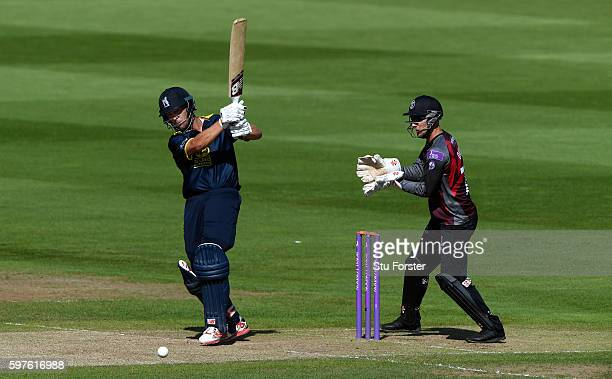 Warwickshire batsman Jonathan Trott hits out watched by wicketkeeper Ryan Davies during the Royal London OneDay Cup semi final between Warwickshire...