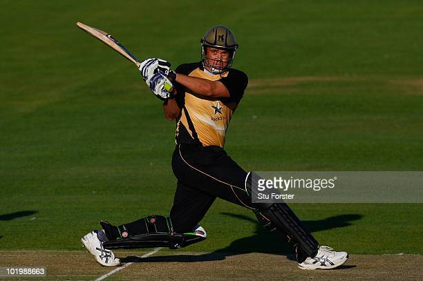Warwickshire batsman Neil Carter hits a boundary during the Friends Provident T20 match between Warwickshire and Durham at Edgbaston on June 11 2010...