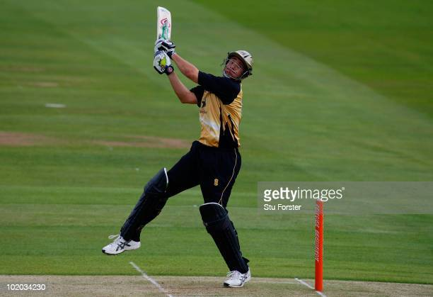 Warwickshire batsman Neil Carter hits out during the Friends Provident T20 game between Warwickshire and Lancashire at Edgbaston on June 13 2010 in...
