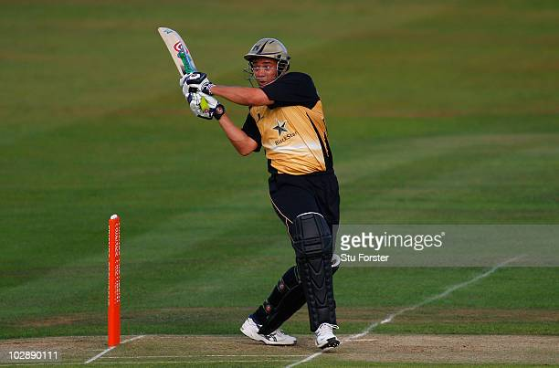 Warwickshire batsman Neil Carter hooks a ball for 6 runs during the Friends Provident T20 match between Warwickshire and Yorkshire at Edgbaston on...