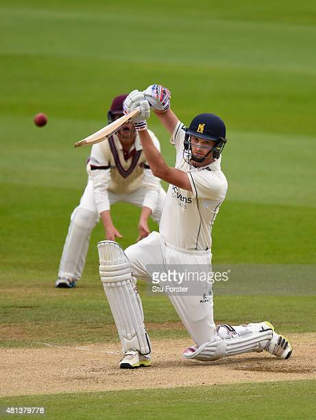 Warwickshire batsman Oliver Hanon Dalby hits his first ball to cover to be caught by Thomas off the bowling of Craig Overton during day three of the...