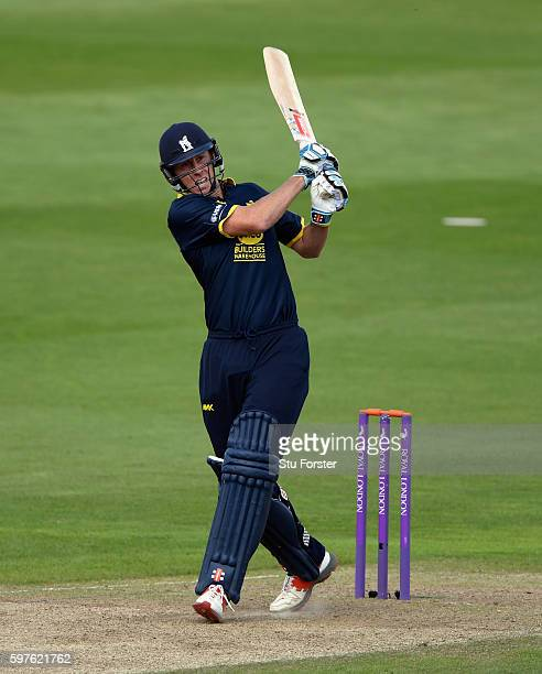 Warwickshire batsman Rikki Clarke hits out during the Royal London OneDay Cup semi final between Warwickshire and Somerset at Edgbaston on August 29...