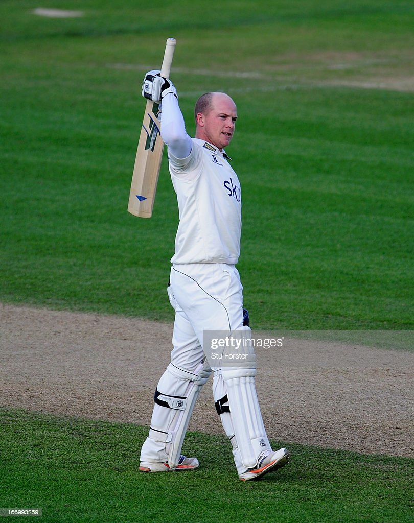 Warwickshire batsman <a gi-track='captionPersonalityLinkClicked' href=/galleries/search?phrase=Tim+Ambrose&family=editorial&specificpeople=757624 ng-click='$event.stopPropagation()'>Tim Ambrose</a> celebrates after reaching his century during day three of the LV County Championship Division One game between Warwickshire and Durham at Edgbaston on April 19, 2013 in Birmingham, England.