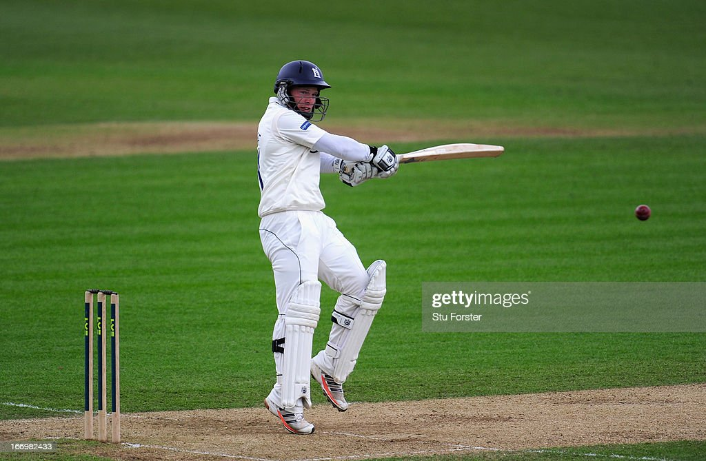 Warwickshire batsman <a gi-track='captionPersonalityLinkClicked' href=/galleries/search?phrase=Tim+Ambrose&family=editorial&specificpeople=757624 ng-click='$event.stopPropagation()'>Tim Ambrose</a> cuts a ball toi the boundary during day three of the LV County Championship Division One game between Warwickshire and Durham at Edgbaston on April 19, 2013 in Birmingham, England.