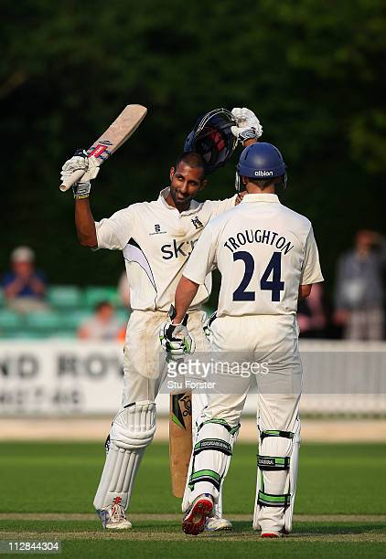 Warwickshire batsman Varun Chopra celebrates after reaching his 200 during day three of the Division One LV County Championship match between...
