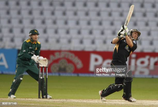 Warwickshire Bear's Jim Troughton hits out to the deep and is caught by Nottinghamshire's Steven John Mullaney for 8 runs during the Clydesdale Bank...