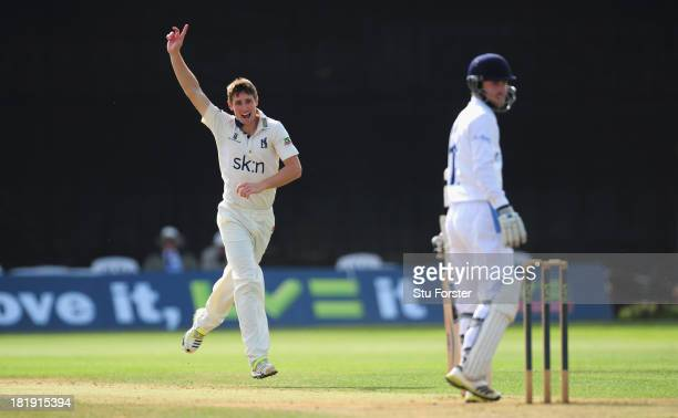 Warwickshire bowler Chris Woakes celebrates after dismissing Derbyshire batsman Paul Borrington during day three of the LV County Championship match...