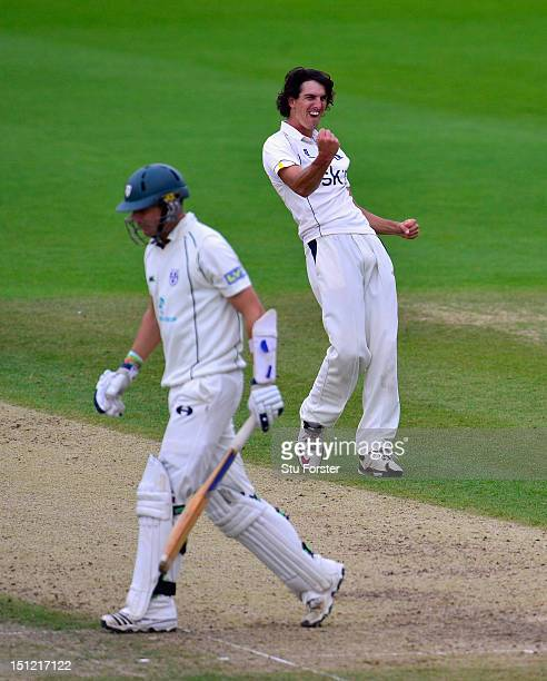 Warwickshire bowler Chris Wright celebrates after taking the final Worcestershire first innings wicket of Chris Russell during day one of the LV...