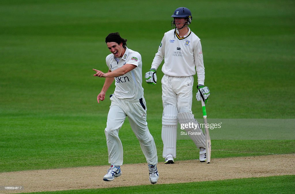 Warwickshire bowler <a gi-track='captionPersonalityLinkClicked' href=/galleries/search?phrase=Chris+Wright+-+Cricket+Player&family=editorial&specificpeople=14555411 ng-click='$event.stopPropagation()'>Chris Wright</a> celebrates after taking the wicket of Durham batsman Dale Benkenstein as fellow batsman Keaton Jennings looks on during day two of the LV County Championship Division One game between Warwickshire and Durham at Edgbaston on April 18, 2013 in Birmingham, England.