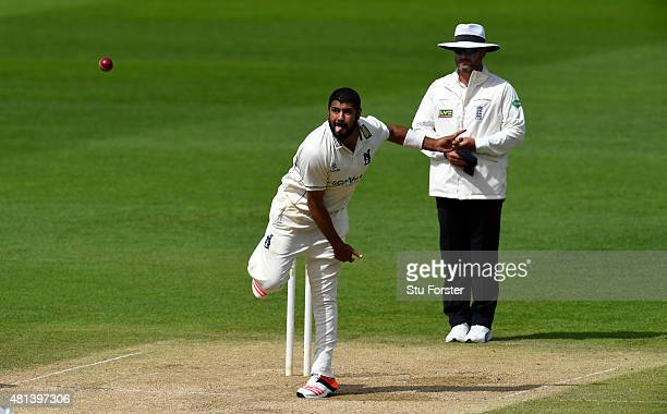 Warwickshire bowler Jeetan Patel in action during day three of the LV County Championship Division One match between Warwickshire and Somerset at...