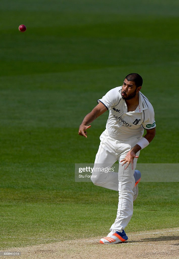 Warwickshire bowler Jeetan Patel in action during day three of the Specsavers County Championship Division One match between Warwickshire and Durham at Edgbaston on May 24, 2016 in Birmingham, United Kingdom.