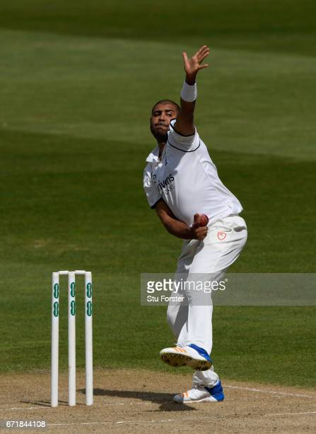 Warwickshire bowler Jeetan Patel in action during day three of the Specsavers County Championship Division One between Warwickshire and Surrey at...